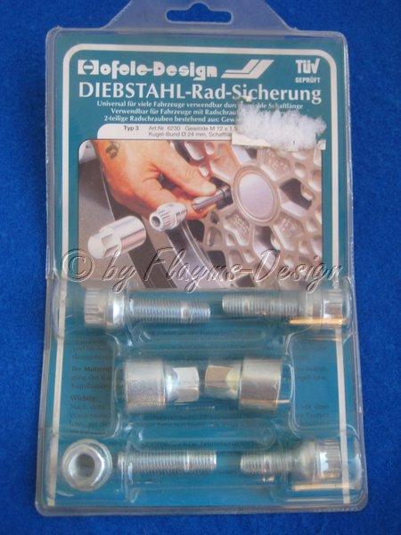 Diebstahl - Radsicherung Typ 3 , M12 X 1,5 , Kugel